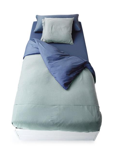 Funda nórdica de punto de camiseta bicolor alga:azul navy