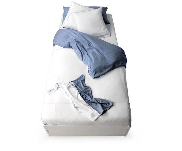 Funda nórdica de punto de camiseta bicolor blanco:azul navy
