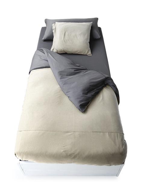 Funda nórdica de punto de camiseta bicolor arena:antracita